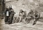 Thomas Becket (c.1118-70) washing the feet of beggars (engraving)